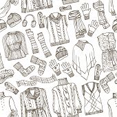 Females knitted clothing seamless pattern.Outline Sketchy