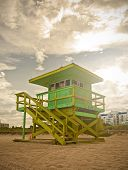 Miami Beach Florida lifeguard house at sunset