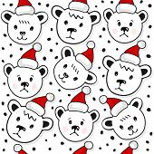 Polar bears in Santa Claus hats Christmas winter holidays seamless pattern on white