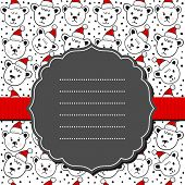 Polar bears in Santa Claus hats Christmas pattern on white with blank frame and ribbon