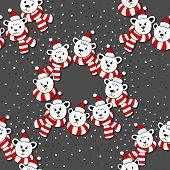Polar bear heads in Santa Claus hats and scarfs seamless pattern on dark