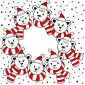Polar bears wreath winter holidays card on white