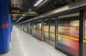 Jubilee Line Train Leaves Modern North Greenwich Station