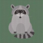 Knitted Funny Cartoon Cute Raccoon Vector Background