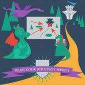 Illustration With Cartoon Dragons Planning To Capture The Royal Castle In The Trendy Flat Style