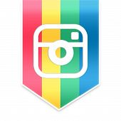 picture of instagram  - Instagram ribbon with instagram colors isolated on white background - JPG