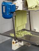 Green spaghetti pasta sheet being processed in machine at commercial kitchen