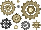 Illustration Featuring a Wide Assortment of Cogwheel Designs