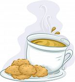Illustration Featuring a Plate of Cookies Served with a Cup of Coffee