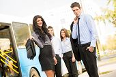Young Business People Waiting For The City Bus