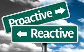 Proactive x Reactive creative sign with clouds as the background