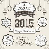 Happy New Year 2015 and Merry Christmas celebrations concept with stylish text, ribbon, sticker, tag, label and hanging Xmas Ball.