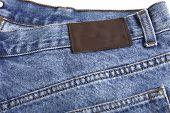 Denim blue jeans rear with label