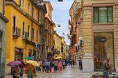 People In The Street On A Rainy Day, Verona Italy
