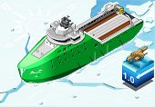 Isometric Icebreaker Ship Breaking The Ice In Front View