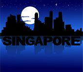 Singapore skyline reflected with text and moon vector illustration