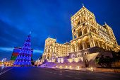 Baku - JANUARY 3, 2014: Government House on January 3 in Azerbaijan, Baku. Christmas Tree in front of the Government House