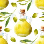 bright watercolor olive oil seamless pattern