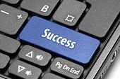 Success. Blue Hot Key On Computer Keyboard.