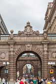 Arch Of Parliament And Drottninggatan Street In Stockholm, Sweden.