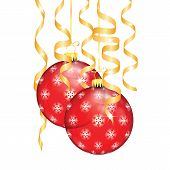 Red Christmas Balls With Snowflakes And Serpentine Isolated On A White Background