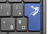 Go To China!. Blue Hot Key On Computer Keyboard.