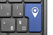 Destination. Blue Hot Key On Computer Keyboard.