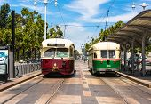 Two historic tram in San Francisco