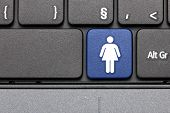 For Woman. Blue Hot Key On Computer Keyboard.
