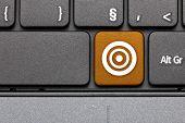 Target. Orange Hot Key On Computer Keyboard.