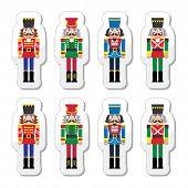 Christmas nutcracker - soldier figurine icons set
