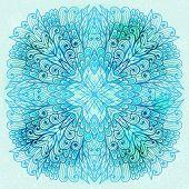 Hand Drawn Ethnic Square Blue Ornament. Eps10