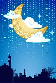 Greeting card layout with crescent moon, stars, clouds, and middle eastern traditional houses silhouette.