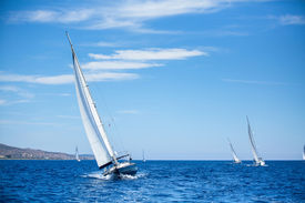 foto of yacht  - Sailing boats during a sea race - JPG