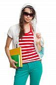 Stylish Teenage Girl With Books