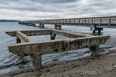 foto of dash  - View of the pier at Dash Point Washington with overcast skies and the Puget Sound - JPG