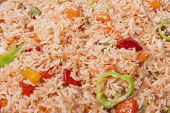 foto of chinese restaurant  - Closeup of chinese vegetable fried rice on display at a hotel restaurant buffet - JPG
