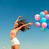 picture of hair blowing  - Summer holidays celebration and happiness concept  - JPG
