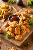 foto of popcorn  - Homemade Crispy Popcorn Chicken with Barbecue Sauce - JPG