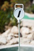 image of miniature golf  - Mini Golf hole 1 marker on an outdoor mini golf course - JPG