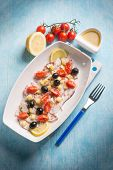 picture of black-cherry  - octopus salad with cherry tomatoes and black olives - JPG