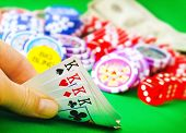pic of poker hand  - poker game cards in hand - JPG