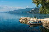 stock photo of macedonia  - Beautiful Ohrid Lake In the Macedonia with boat - JPG