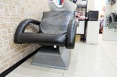 picture of beauty salon interior  - Bowl for head washing and armchair in Beauty Salon - JPG