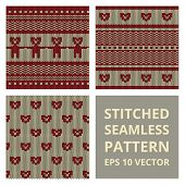 stock photo of stitches  - Stitched seamless pattern set with silhouette of bear or dog - JPG