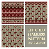 stock photo of stitches  - Stitched seamless pattern set with silhouette of cat - JPG