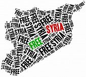 stock photo of civil war flags  - Free Syria - JPG