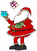 picture of juggling  - This illustration depicts Santa Claus juggling three wrapped packages - JPG