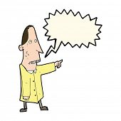 stock photo of ugly  - cartoon ugly man pointing with speech bubble - JPG
