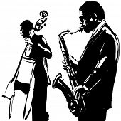 picture of double-bass  - Jazz  with saxophone and double - JPG